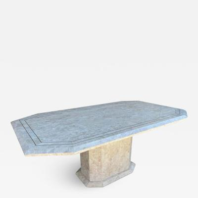 Maitland Smith Tessellated Stone Brass Dining Table by Maitland Smith