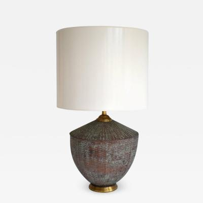 Maitland Smith Woven Copper Basket Form Table Lamp