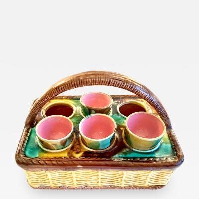 Majolica Basket Weave Egg Caddy Late 19th Century