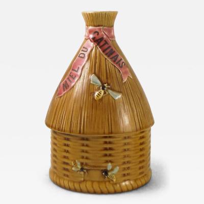 Majolica Beehive Honey Pot