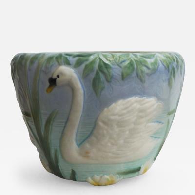 Majolica Swan Jardini re C 1900
