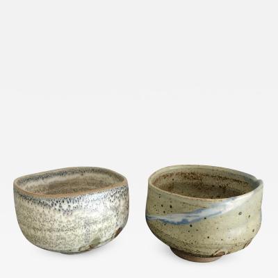 Makoto Yabe A Set of Two Zen Tea Bowls Chawan by Makoto Yabe