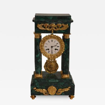 Malachite Clock with Dore Bronze