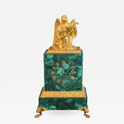 Malachite Clock with Gilded Bronze Angel