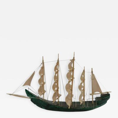 Malachite and Bone Sailboat