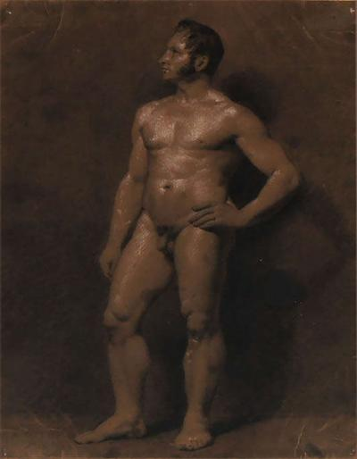 Male Nude Academic Painting on Paper