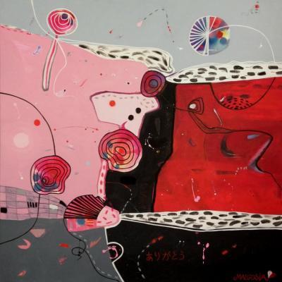 Malgosia Kiernozycka Arigato Diptych Acrylic on Canvas