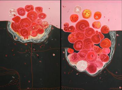 Malgosia Kiernozycka Blood Love Diptych Contemporary Abstract