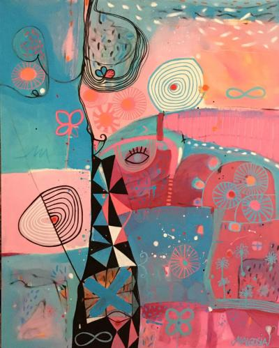 Malgosia Kiernozycka Tower Of Sighing Pink Blue Abstract