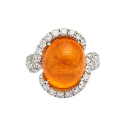 Mandarin Garnet and Diamond Ring