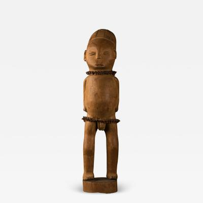 Mangbetu People DRC Very Early Male Statue with Snake Vertebrae Belt