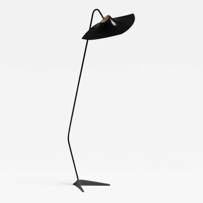 Manta Ray Black Metal Floor Lamp Manner of Serge Mouille France 1950s