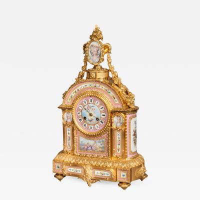 Mantelpiece Clock in the Louis XVI Manner Retailed by E S Watson of London