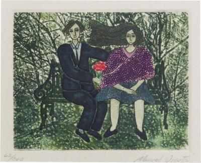 Manuel Urrutia Embossed Color Etching Couple Bench Park