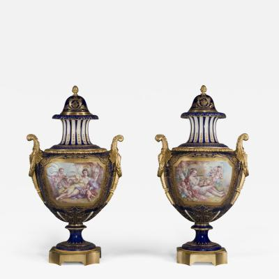 Manufacture Nationale de S vres A Pair of S vres Style Porcelain Vases