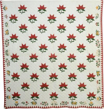 Maple Leaf Quilt with Botanical Border Circa 1860