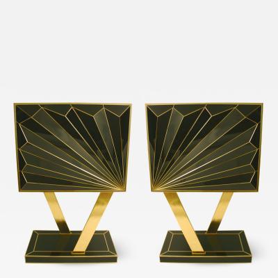 MarGian Studio Inc Double Sunburst Black Glass Cabinets