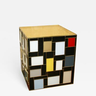 MarGian Studio Inc Mondrian Inspired Glass Table with Gold Top
