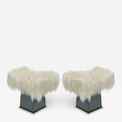 MarGian Studio Inc Pair of Mongolian Long Haired Stools