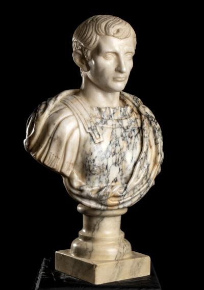 Marble Sculpture Portrait Bust Roman Emperor Caesar Augustus Grand Tour Italian