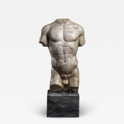 Marble Sculpture Torso Of an Athlete After The Antique Italian