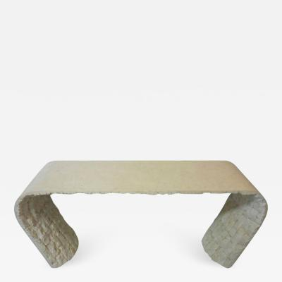 Marble Smooth and Textural Organic Console Table