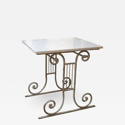 Marble Top White Painted Iron Base Table