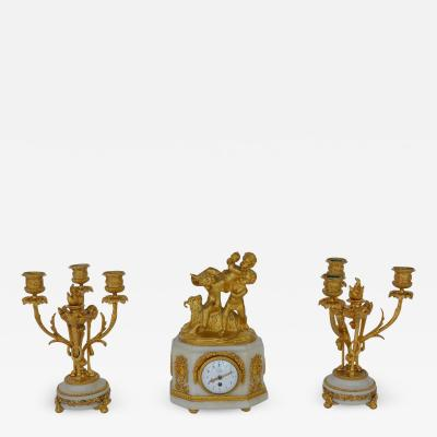 Marble and Bronze Clock Garniture after Jean Michel Clodion French 1738 1814