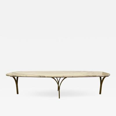 Marble and Gilt Metal Surfboard Coffee Table