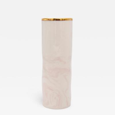 Marbled Pink White clay Vase with Gilt accent