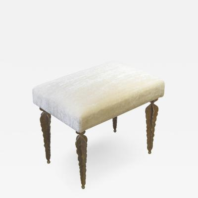 Marc Bankowsky Fern Bench in gilded bronze and velvet mohair by Marc Bankowsky