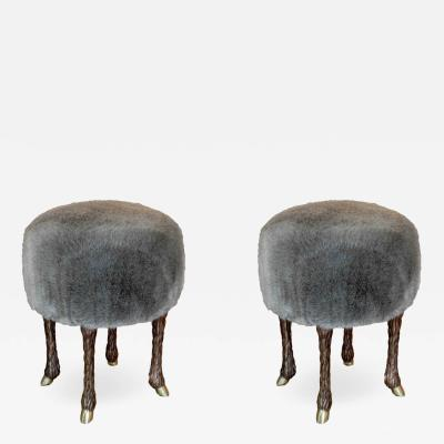 Marc Bankowsky Stool goat leg by Marc Bankowsky in patinated bronze and velvet mohair