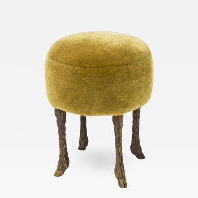 Marc Bankowsky Stool goat leg in patinated bronze and velvet by Marc Bankowsky