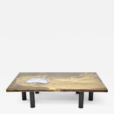 Marc D Haenens Marc DHaenens design brass coffee table Sea etching