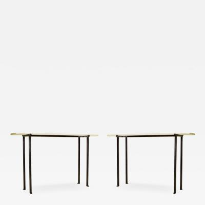 Marc Du Plantier 2 French Modern Neoclassical Bronzed Wrought Iron Console Marc Duplantier Style
