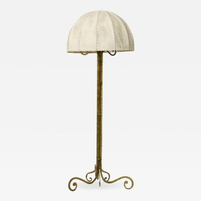 Marc Du Plantier Floor Lamp Midcentury by Marc du Plantier in Brass and Parchment 1950s