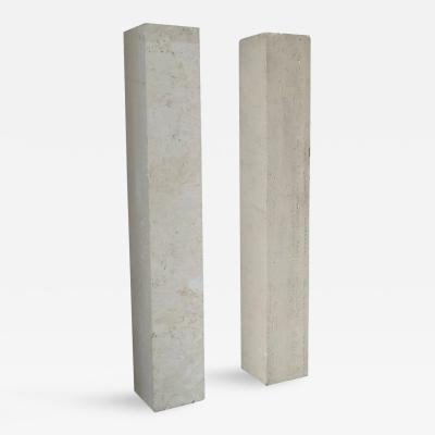 Marc Du Plantier Pair of French Art Deco Travertine PEdestals in the Manner of Marc Du Plantier