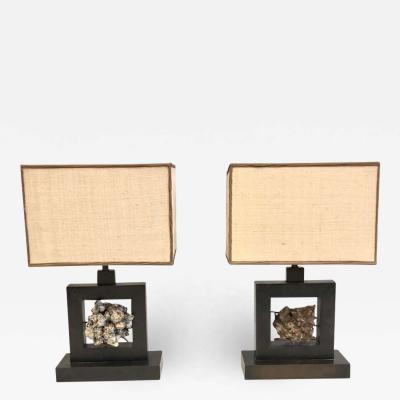 Marc Du Plantier Pair of French Bronze Rock Crystal Mineral Geode Table Lamps Marc Du Plantier