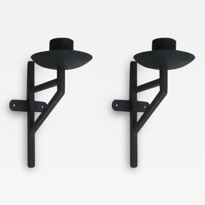 Marc Du Plantier Pair of French Wrought Iron Sconces in the Style of Marc DuPlantier