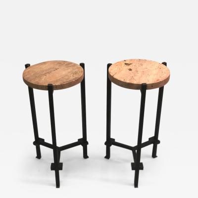 Marc Du Plantier Pair of French Wrought Iron Side Tables Marc Du Plantier Stone and Crystal Tops