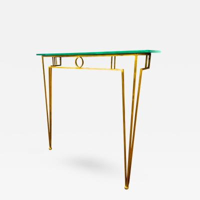 Marc Duplantier Marc Duplantier Gold Leaf Wrought Iron Console with a Mirrored Glass Top