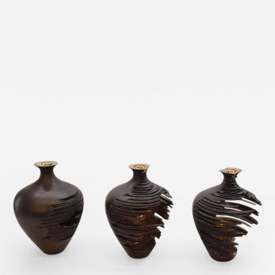 Marc Fish Relic Vessel Series Black Ash with Silver Glaze