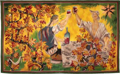 Marc Saint Sa ns Marc Saint Sa ns 1903 1973 Aubusson Tapestry Les Buveurs Circa 1944