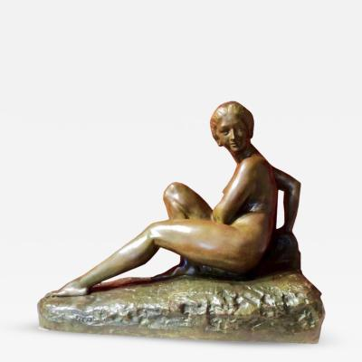 Marcel Andre Bouraine Art Deco Woman Bronze Sculpture by Marcel Bouraine