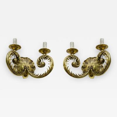 Marcel Asselbur Marcel Asselbur pair of refined solid gold bronze sconces