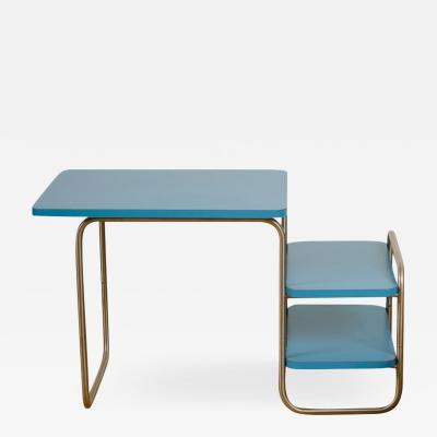 Marcel Breuer A Marcel Breuer Art Deco kids desk plus chair set with blue laminate top 1929