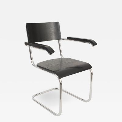 Marcel Breuer German Art Deco Black Enameled Wood Arm Chair