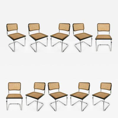Marcel Breuer Marcel Breuer Knoll Cesca Set 10 Cane Dining Chairs Italy