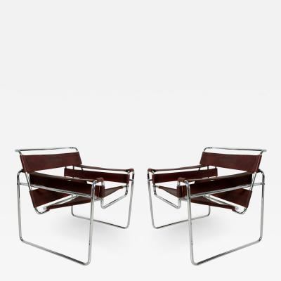 Marcel Breuer Pair of Marcel Breuer Wassily Chairs for GAVINA Mid Century Modern Italy