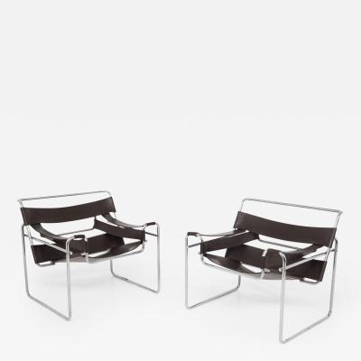 Marcel Breuer Pair of Wassily Model B3 Lounge Chairs by Marcel Breuer for Gavina 1970s